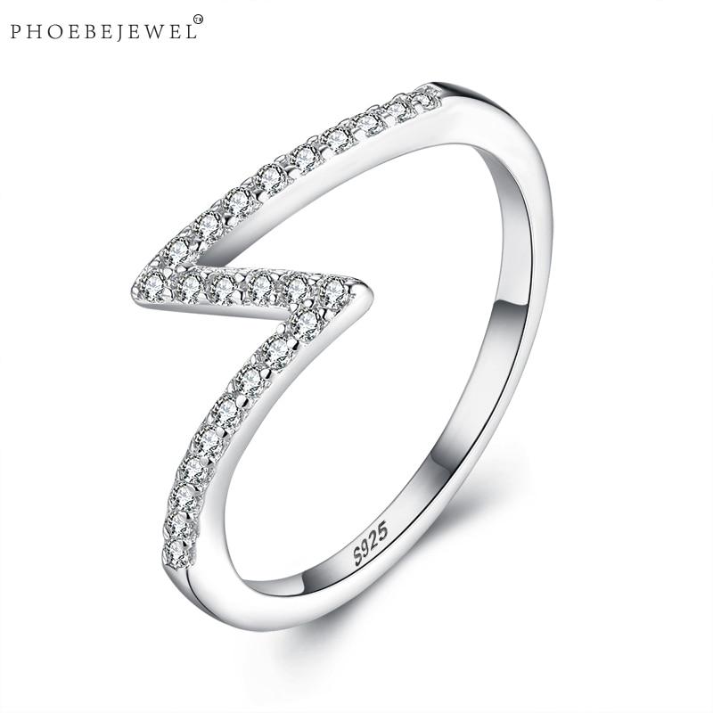 PHOEBEJEWEL 100% Genuine 925 Sterling Silver Lightning Finger Rings for Women Girls Wedding Engagement Jewelry Gift Anel