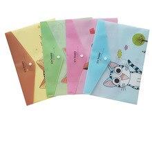 12 unids/lote precioso gato queso PVC A4 Documento de la carpeta de archivos bolsa de archivo bolsa de papelería para estudiante niños caja de lápices