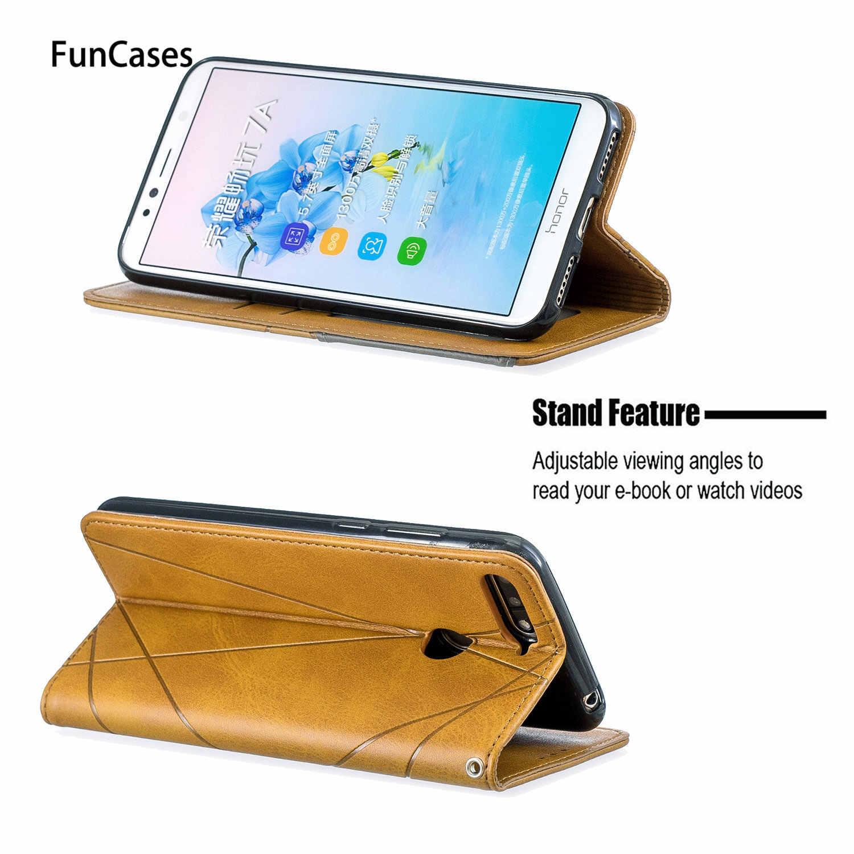 Simple PU Leather Flip Wallet Case For hoesje Huawei Y6 2018 Carcasa sFor Huawei funda Honor 7A Y6 Prime 2018 7C Y7 Cases Phone