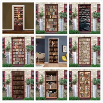 Home Decor 3d Retro Bookcase Self Adhesive Bedroom Door Murals Wall Sticker Wallpaper Decor Home Garden Ohioeyecareconsultants Com