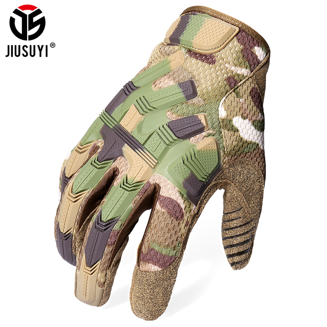 Tactical Army Full Finger Gloves Touch Screen Military Paintball Airsoft Combat Rubber Protective Glove Anti-skid Men Women New 4