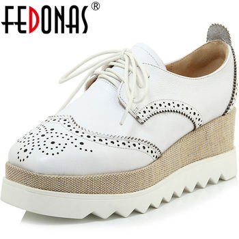FEDONAS Newest Cross Tied Party Women Shoes Wedged Platforms Flats 2020 Concise Genuine Leather Summer Round Toe Shoes Woman