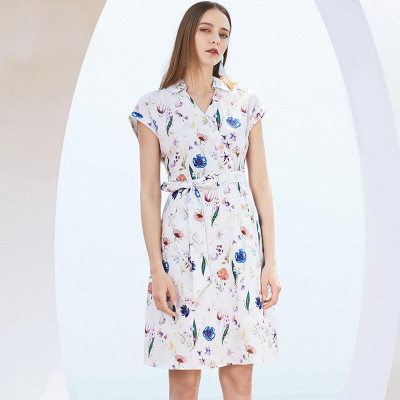 SELECTED Women Slim Fit Cotton Linen Floral Print Dress|41922J539