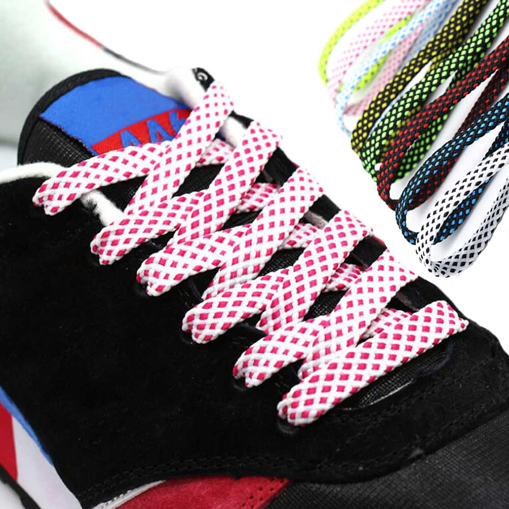 Checkered Flat Plaid Shoe Laces Black White Flatties Rainbow For Skater Boot Silk Screen Grid Printing Shoelaces 120cm