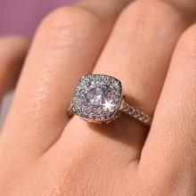 S925 כסף צבע כיכר יהלום טבעת עבור נשים 2 קראט Anillos Bizuteria תכשיטי חתונה לבן טופז אבן חן יהלומי טבעת תיבה