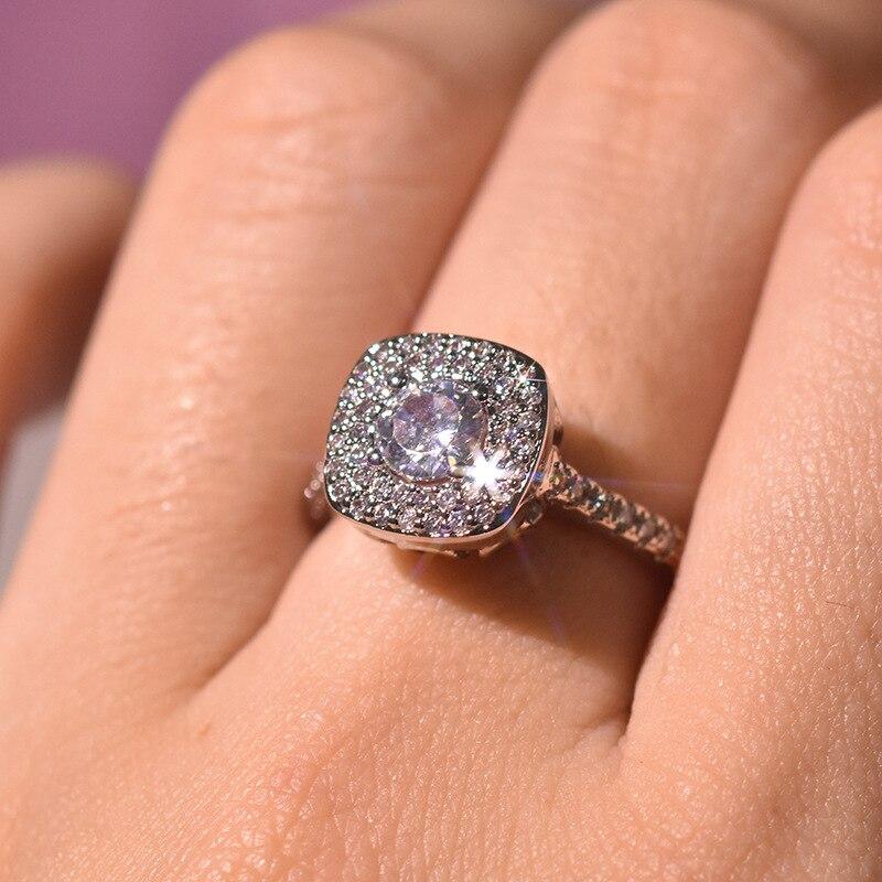 S925 Silver Color Square Diamond Ring For Women 2 Carats Anillos Bizuteria Wedding Jewelry White Topaz Gemstone Diamond Ring Box Rings Aliexpress