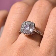 S925 Zilver Kleur Vierkante Diamanten Ring Voor Vrouwen 2 Karaat Anillos Bizuteria Bruiloft Sieraden White Topaz Gemstone Diamanten Ring Box