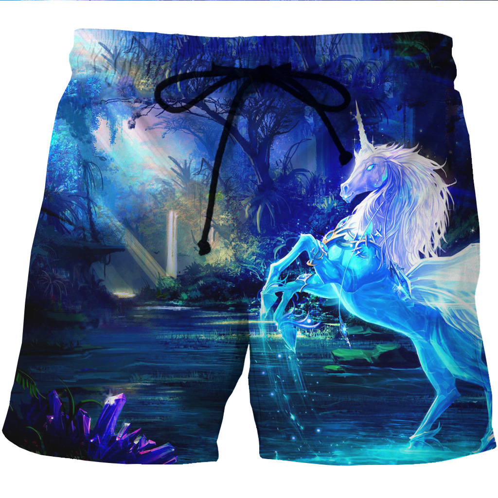 Men's Instant-dry Sand Beach Shorts Animated Stamp Two Side Pockets Casual Shorts