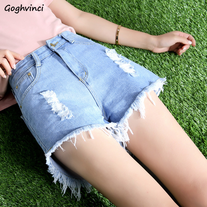 Short Women Button Fly Solid Simple All Match Plus Size Womens Denim Shorts White Hole Korean Style Casual Hot Sale Soft Chic