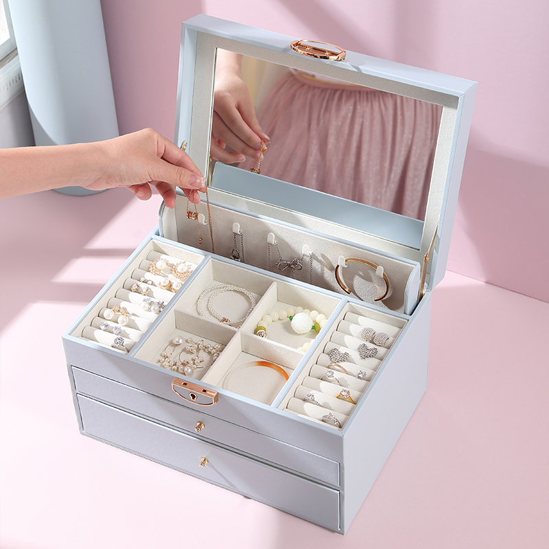 Casegrace Luxury Large PU Leather Jewelry Box Organizer With Handle Mirror Necklace Ring Earring Watch Jewellery