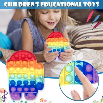 Zabawki typu Fidget Pop to wśród nas Pop It Fidget Push zabawki do puszczania baniek anty stres Pop It Rainbow Push Up Pop Bubble Игрушки Сквиши попт tanie i dobre opinie CN (pochodzenie) MATERNITY W wieku 0-6m 7-12m 13-24m 25-36m 4-6y 7-12y 12 + y fidget toys antistress Chiny certyfikat (3C)