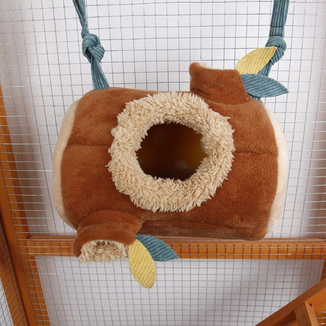 Plush Stump Hamster Tunnel Hammock Hanging Nest Soft House Bed Cage For Mini Animal Small Pet Mice Rat Nest Bed 1