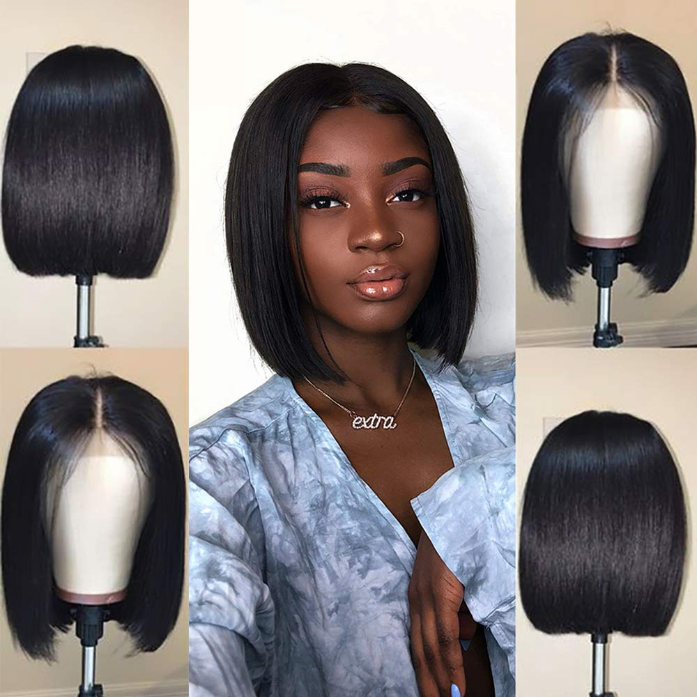 WoWEbony Straight Bob Wig Short Human Hair Wigs 4*1 Lace Part Wig Brazilian Remy Pre Plucked Lace Topline Wig For Women Glueless