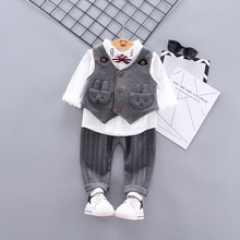 New Children Clothes Set Fashion Shirt Vest Sweater Trousers Three-piece Suit Kids Rabbit Cartoon Clothing Autumn Baby Jackets цены онлайн