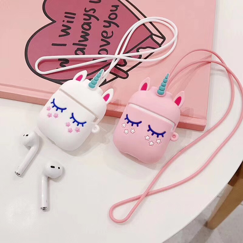 For AirPods Cute Cartoon Case For Air Pods 2 I30 I12 Tws I10  I11 I9s I60 With Bluetooth Earphone Anti-lost Rope Silicon Cover