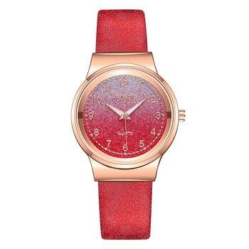2020 Fashion Women Watches Matte Romantic Gradient Sky Dial Frosted Leather Ladies Quartz Watch Gift Zegarek Damski