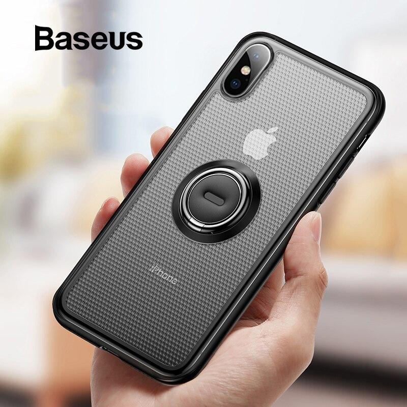 Baseus Original Caso Anel Titular para o iphone Xs Xs Max XR Kickstand TPU Soft Case com Suporte para Carro Magnética para 6.5 de polegada de Telefone Capa