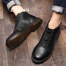 ZSAUAN Fashion Men Split Leather Boots Casual Vintage Heavy Punk Wine Red Short Warm Fur Round Toe Footwear Winter