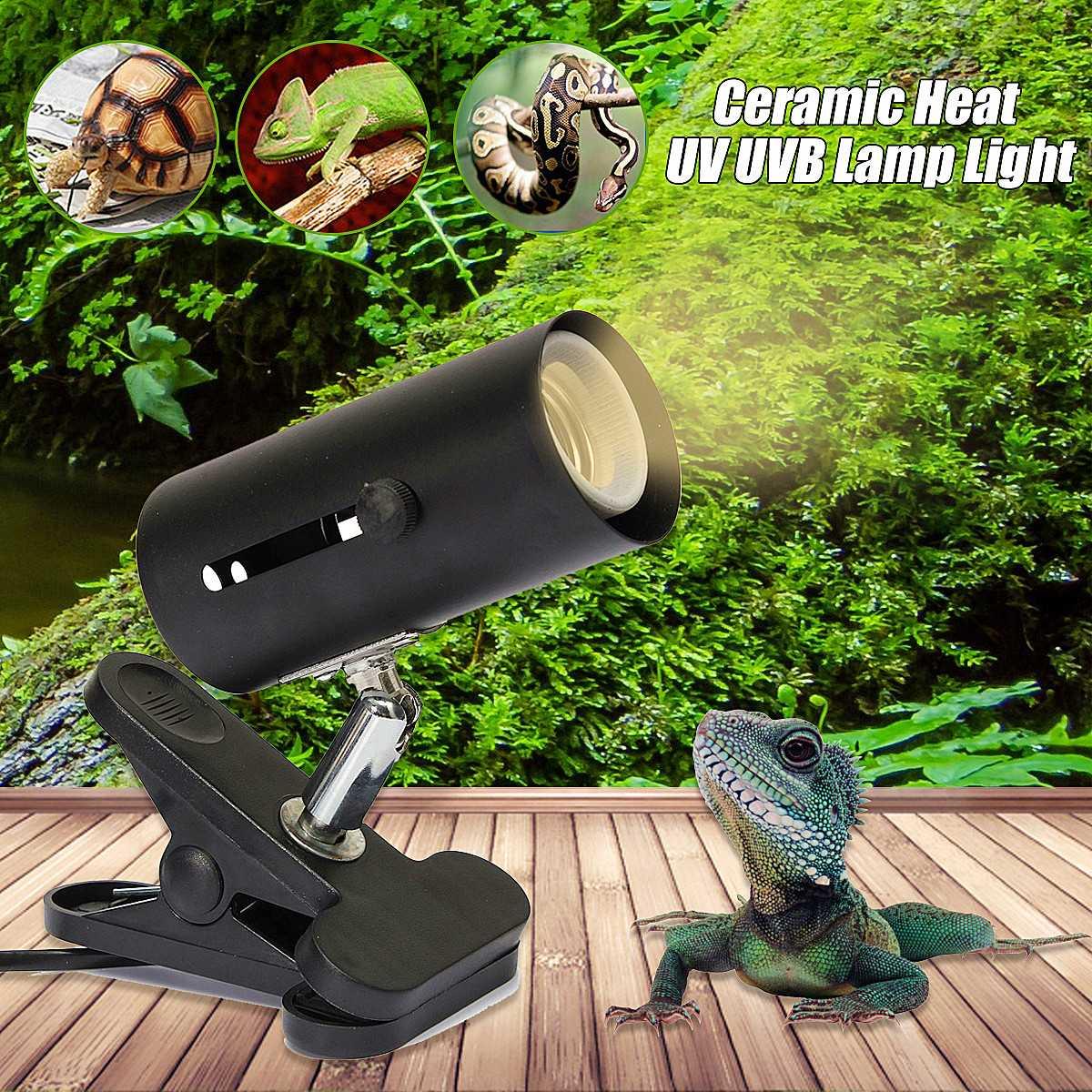 300W UVB Reptile Lamp Kit With Clip-on Ceramic Lights Holder Turtle Basking UV Heating Lamp Set Tortoises Lizards Lighting