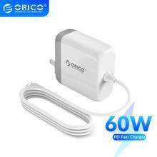 Зарядное устройство ORICO PD 3,0 с функцией быстрой зарядки и кабелем Type C, для QC 3,0 Type C PD 18 Вт/30 Вт/45 Вт/60 Вт, для телефона, планшета, ноутбука