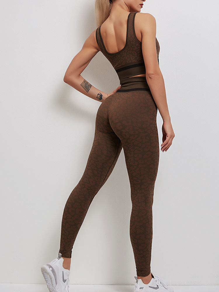 Leopard feminino esportes terno para yoga 2