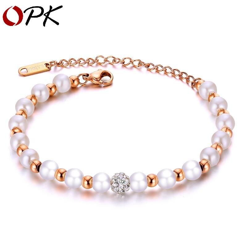 OPK OPK mode coréenne bracelet de perles entretoise dame Bracelet de perles en acier titane zircon boule esthétique handwear