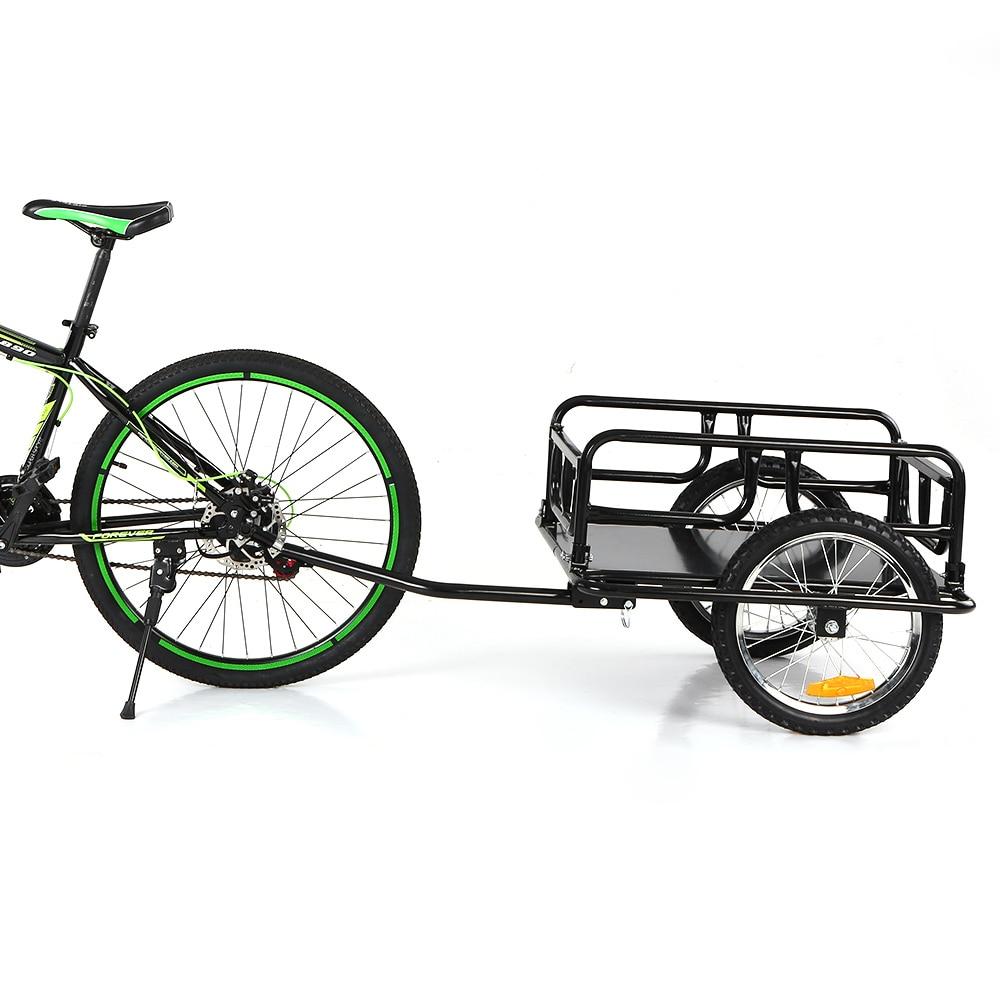 Folding Bike Cargo Trailer Hand Wagon Bicycle Luggage Trailer Storage Cart Carrier W/ Detachable Metal Frame Hitch