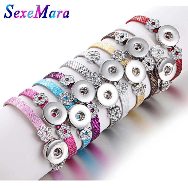 Wholesale Snap Jewelry 18MM Snap Button Bracelets & Bangles Snakeskin Leather Flowers Charm Bracelet Watches