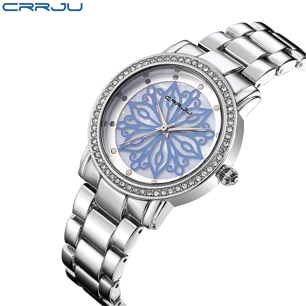 CRRJU Hot Sale Women Dress Watches Steel Quartz Watch Diamonds Silver Blue Watches For Women Wristwatches Relogio Feminino