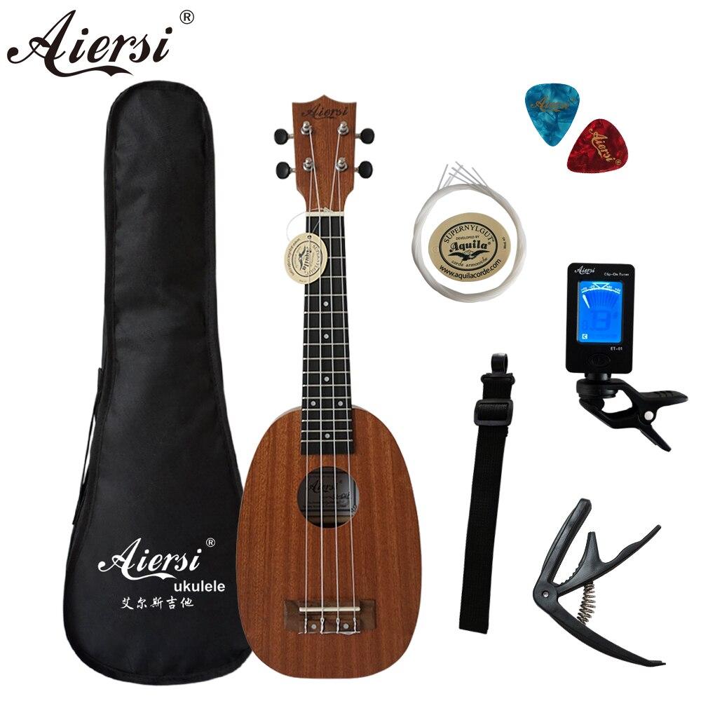 21 Inch Full Set Mahogany 4 String Soprano Ukulele Guitar Pineapple Musical Instruments