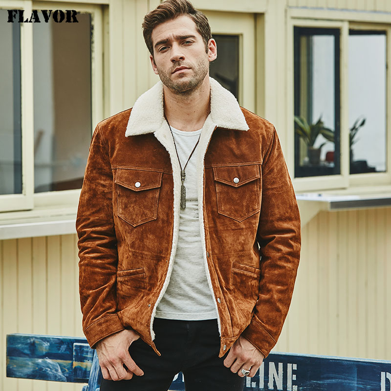 FLAVOR New Men's Real Leather Jacket Genuine Leather With Faux Shearling Warm Coat Men