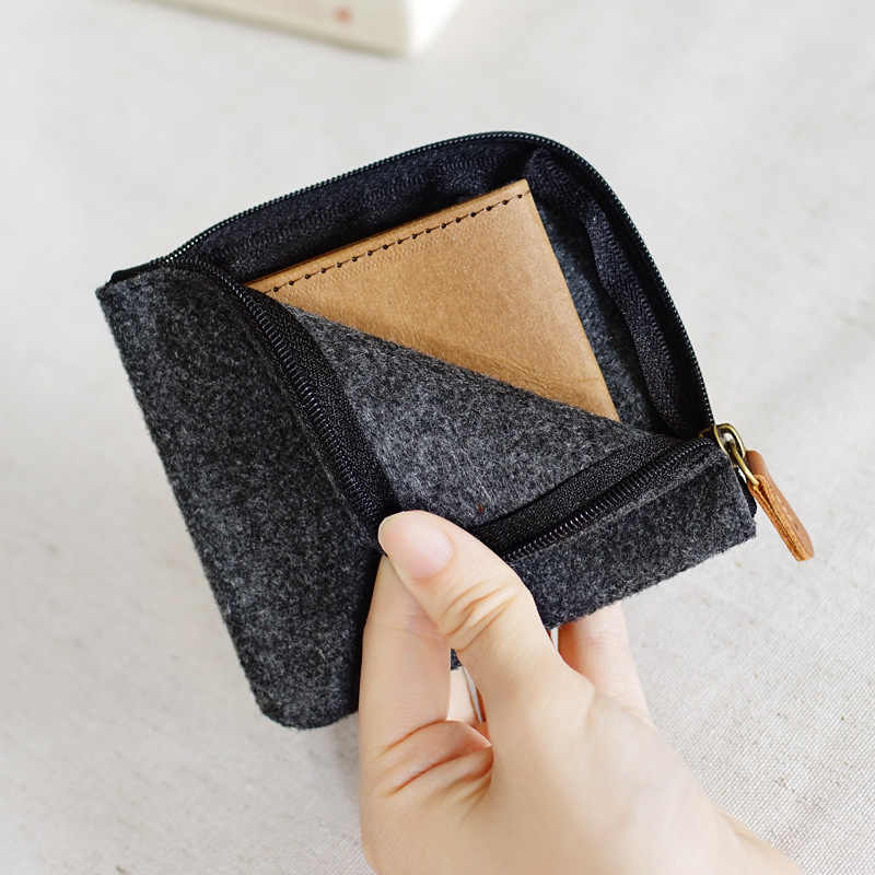 Bolsa de moedas de moda de feltro bonito mini bolsa de moedas para homens unisex carteira casual mini sacos de mudança bolsa de chave titular do cartão de dinheiro