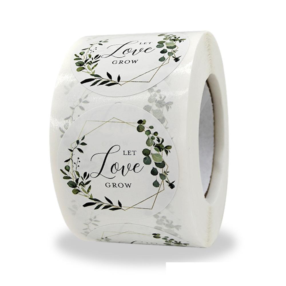 1,5 дюймов Let Love Grow эвкалипт стикеры 500 шт. бумажные этикетки для свадебных подарков для Baby Shower Стикеры для невесты