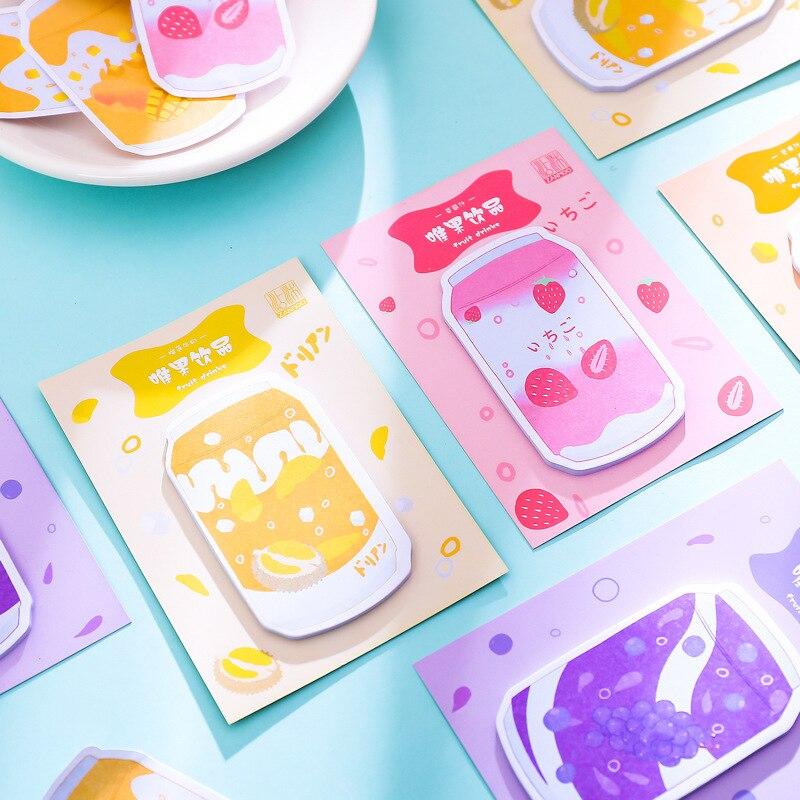 Kawaii Milk Box Shape Strawberry Grape Memo Pad Sticky Notes Escolar Papelaria School Supply Bookmark Label