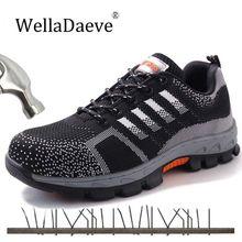 Мужская безопасная обувь дышащие кроссовки уличные строительные ботинки стальной носок прокалывание противоскользящие рабочие ботильоны для мужчин