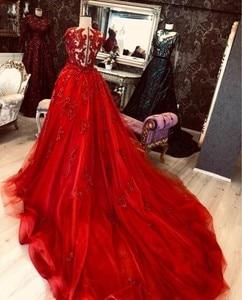 Image 2 - Red Evening Dress Sheath Flowers Lace Dubai Saudi Arabic Evening Gowns 2020 Sexy Side Slit Prom Dresses vestidos