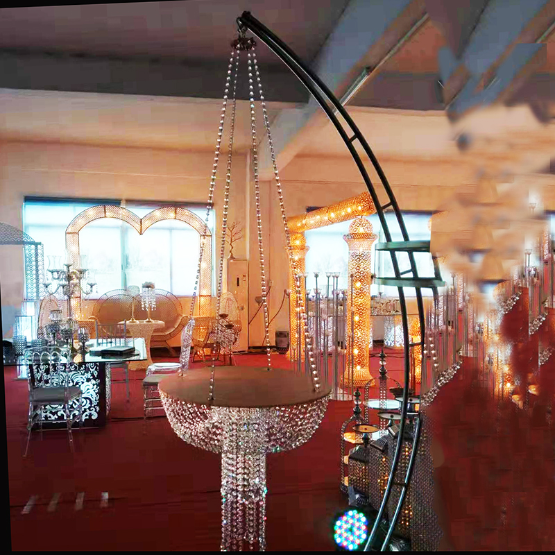 Wedding Hanging Cake Stand Cake Chandeliers Silver Color Crystal Decoration