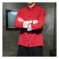 Traditional Chinese Clothing Oriental Men Tangsuit Chinese Traditional Shirt Long Sleeve Embroidery Clothes 5XL