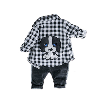 Spring Autumn Baby Girls Boys Clothing Sets Lapel Plaid Shirt Jeans Kids Cartoon Children Costume Infant Leisure Clothes Suits iyeal newest 2018 spring autumn baby girls clothes sets denim jacket tutu dress 2 pcs kids suits infant children clothing set