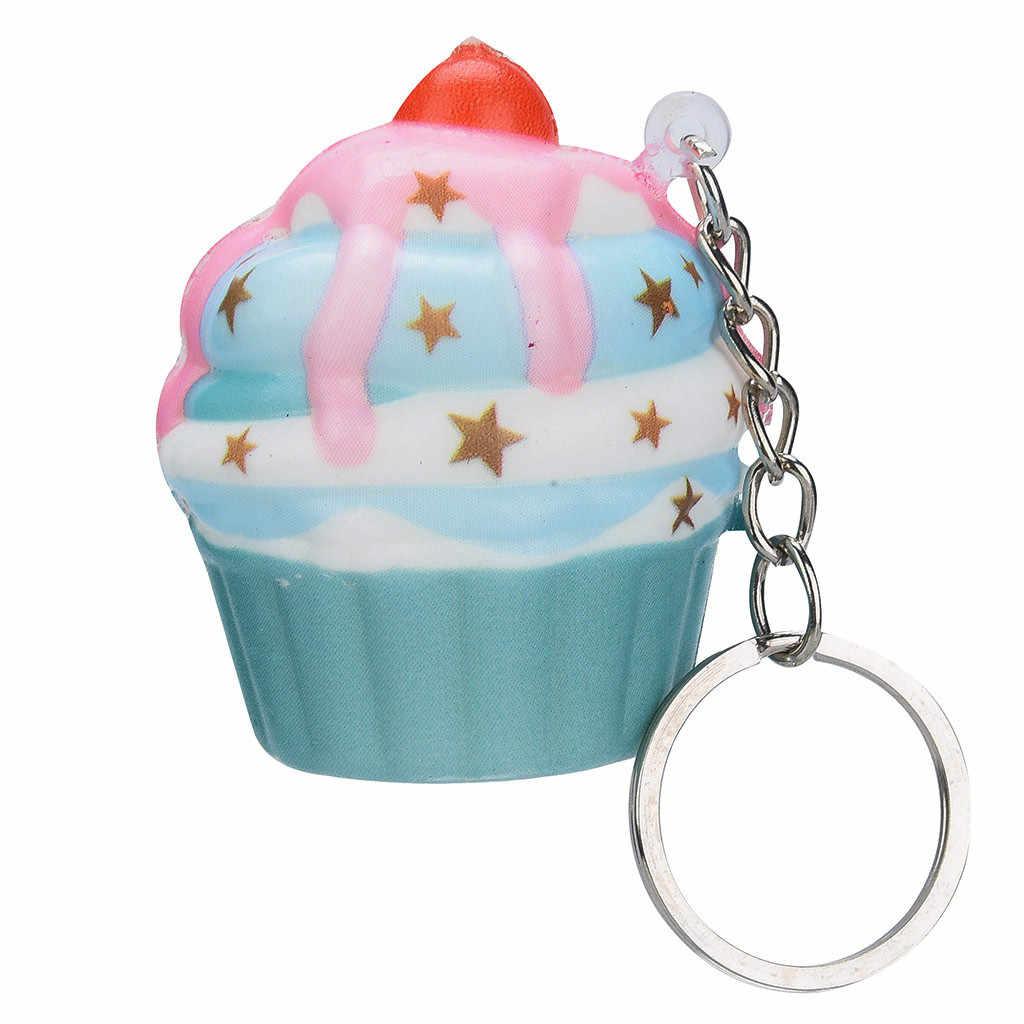 Kawaii Adorable pastel de helado crema perfumada llavero lento estrés Reliever juguetes novedosos