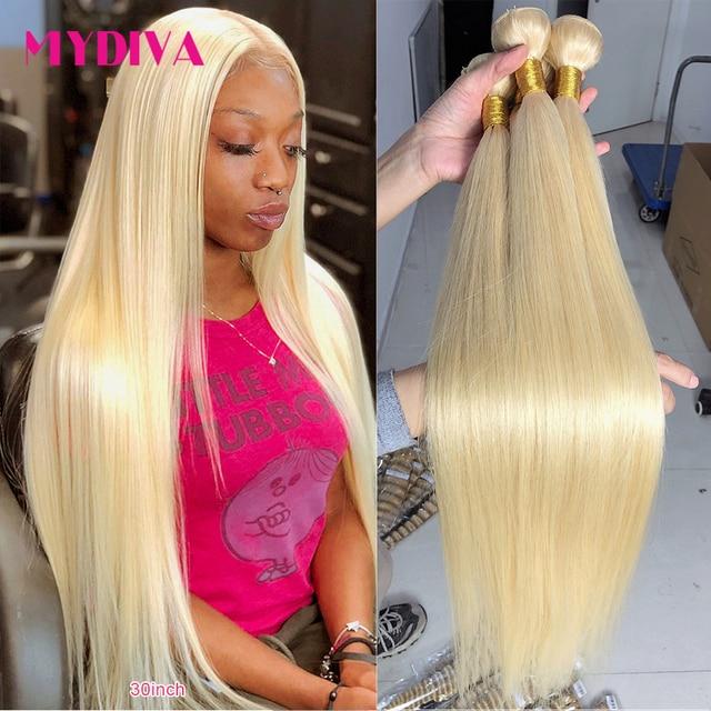 613 Blonde Hair Bundles Brazilian Hair Weave Bundles 100% Honey Blonde Straight Human Hair Extensions 30 32 34 inch Remy Hair