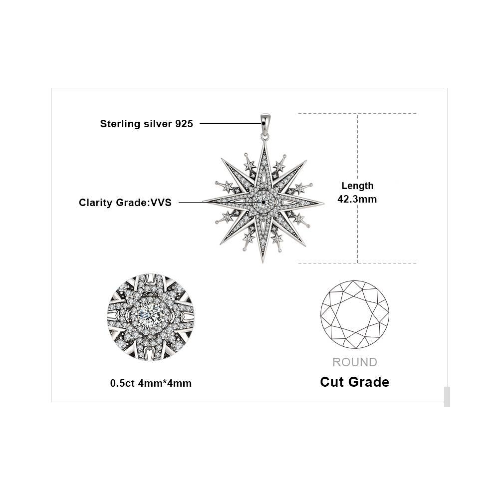 Image 5 - JewelryPalace Vintage Gothic Cubic Zirconia North Star Pendant Necklace Without a Chain 925 Sterling Silver Pendants for WomenNecklaces   -
