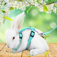 1pc ajustável macio poliéster pequeno animal de estimação coelho todo o corpo chicote trela cobaia lead rope para correr andando