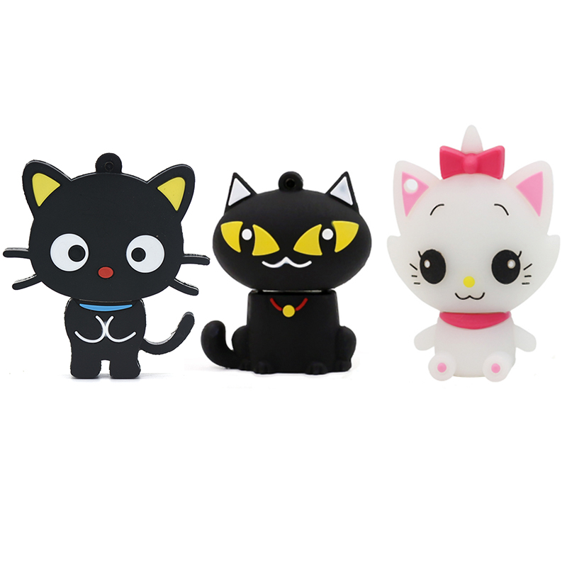 Cartoon Black White Cat Usb Flash Drive Animal Pen Drive Cute Memory Stick 4GB 8GB 16GB 32GB 64GB 128GB 256GB Pendrive U Stick