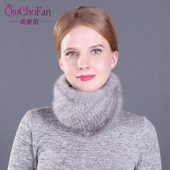 Neue Frauen Winter Real Nerz Schals stirnbänder Gute Elastische Gestrickte Natürliche Nerz Schal Dicke Warme Dame Pelz Ring schal