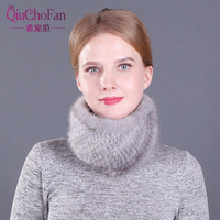 New Women Winter Real Mink Fur Scarves headbands Good Elastic Knitted Natural Mink Fur Scarf Thick Warm Lady Fur Ring Shawl