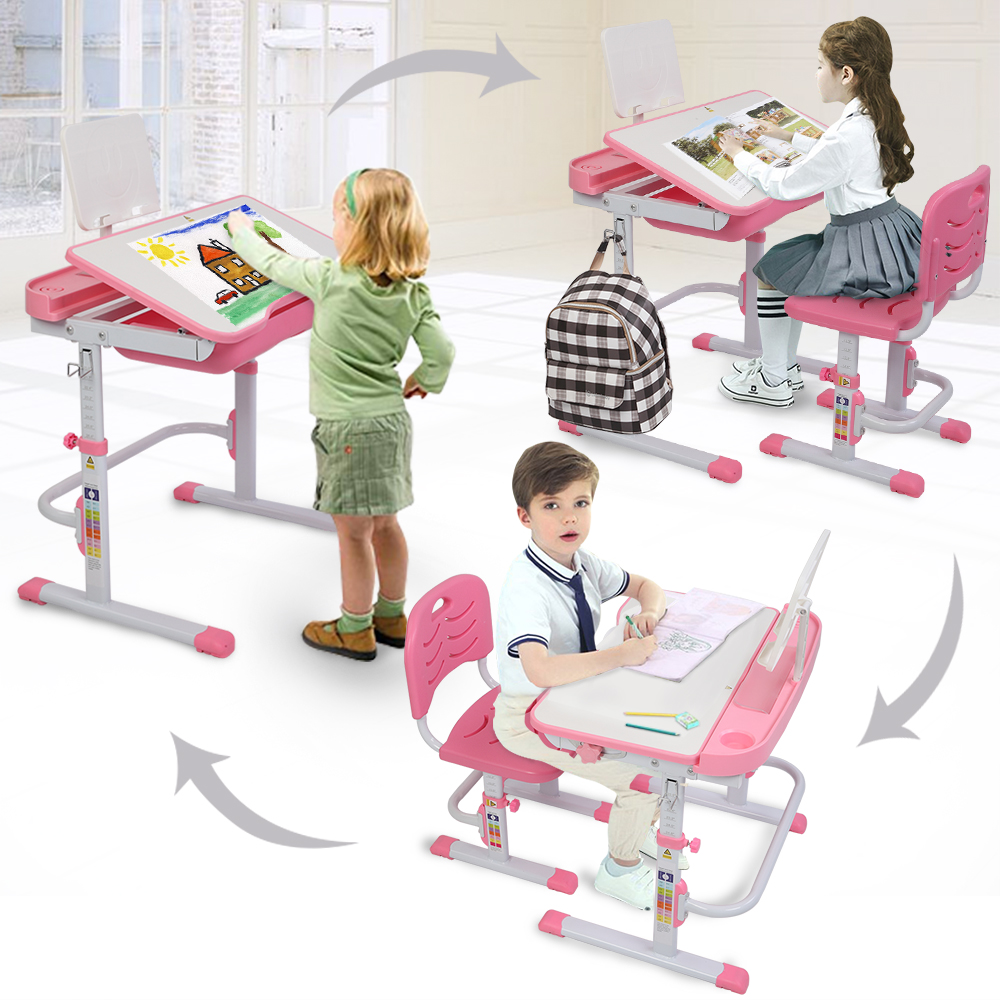 70CM Lifting Table Set Student Class-room Home Reading Desk Tilting Children Learning Table And Chair Pink With Reading Stand