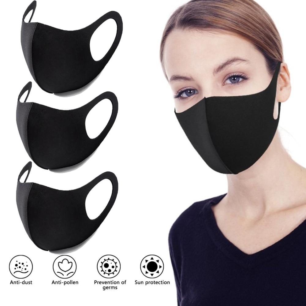 Black Unisex Mouth Mask Washable Reusable Face Mask Breathable Sponge Mouth Cove Men And Women Anti-Dust Haze Face Shield D30