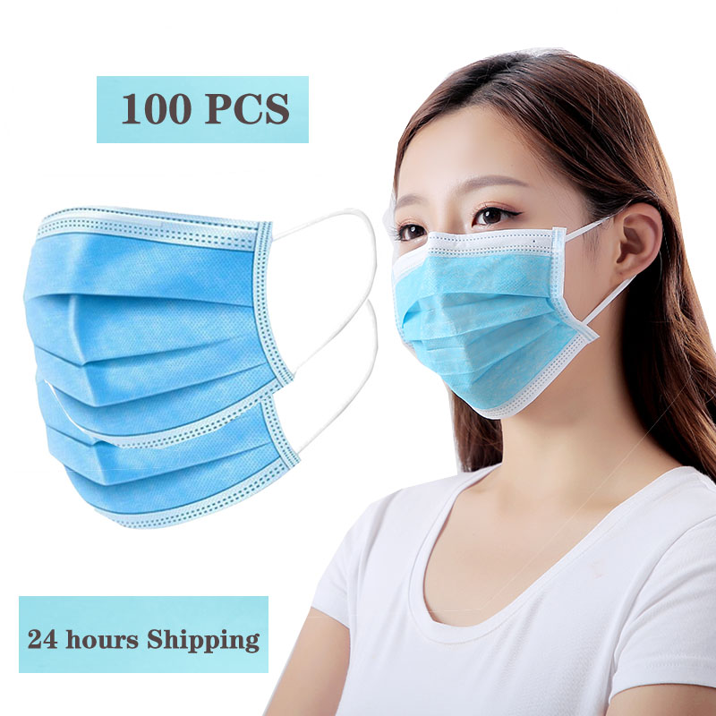 100 Masks,CE One-time Anti-virus, Anti Bacteria, 3-layer Filtration, Dust-proof Ear Hook, Non-woven Fabric Masks, Super Shipping