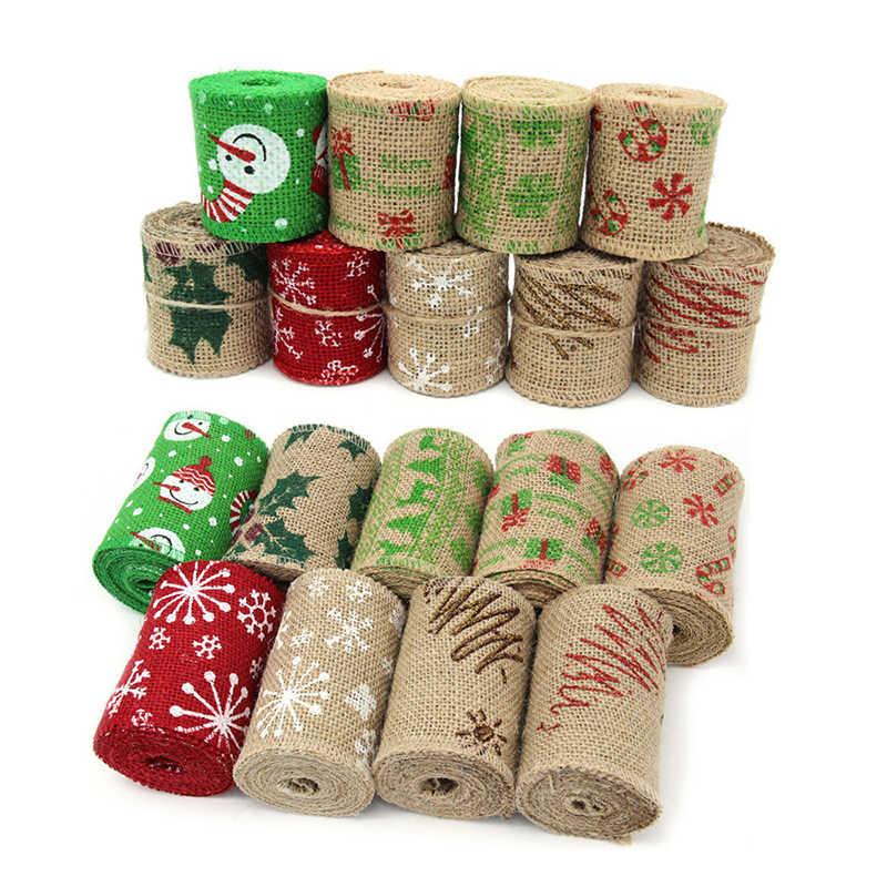 2 m/lote 6CM Natural yute arpillera impresa cinta Lino rollo tela de coser bricolaje hecho a mano Navidad materiales de decoración para boda